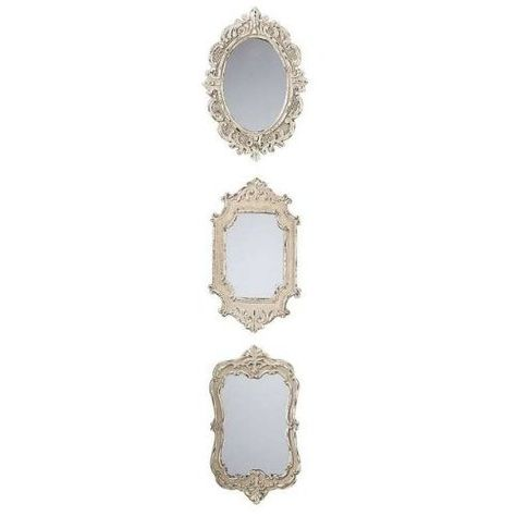 50 For Three Silver Mirrors Mix With Artsy Photo Frames To Make A Statement With A Small Wall Space Note Very Gold Fr Cream Mirrors Mirror Decor