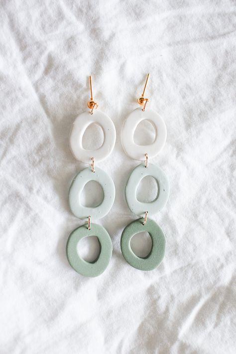 elegant dangling earrings in mint/sage | polymer clay earrings, handmade jewelry, modern earrings, feminine style, minimal jewelry