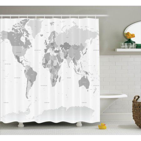 Gray Shower Curtain Set Detailed World Map With All Countries And