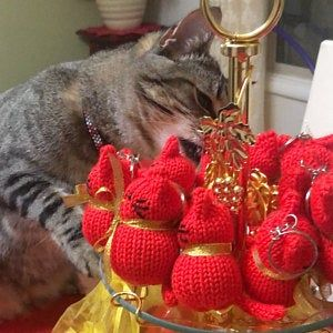 Knitted Cat Cat Keychain Ring Mini Toy Keychain Ring Stuffed Knitted Toy Bag Pendant