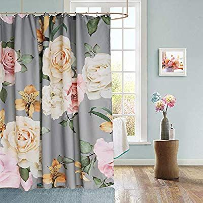 Amazon Com Uphome Floral Fabric Shower Curtain Grey And Cream