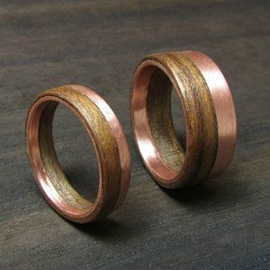 Copper And Wood Wedding Band Alternative Engagement Ring Rustic