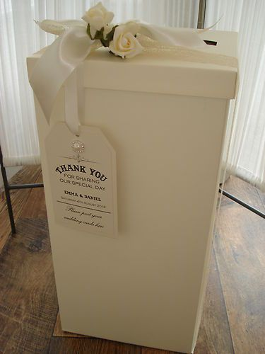 Wedding post box including vintage style personalised tag, ribbon and rose | eBay