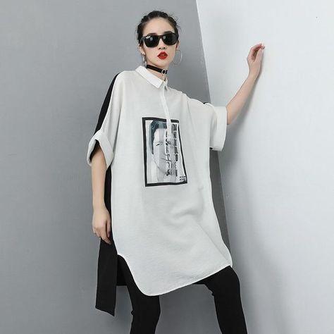 Korean Fashion Ladies Printed Tops - White / One Size / China