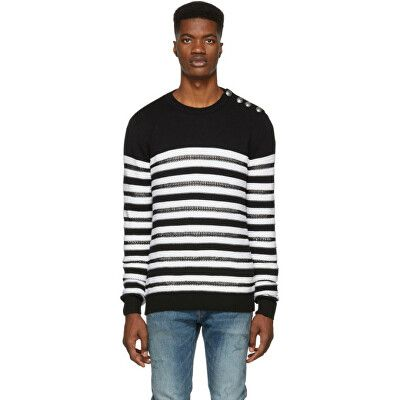 c82c8ee31f Balmain Designer Black & White Striped Nautical Sweater | Clothing ...