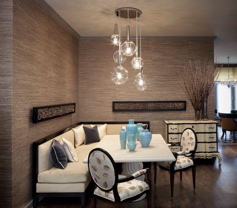 Cool Lightology method Chicago Contemporary Dining Room Inspiration with banquette seating beige dresser dark wood flooring gray trim multi light pendant rectangular dining