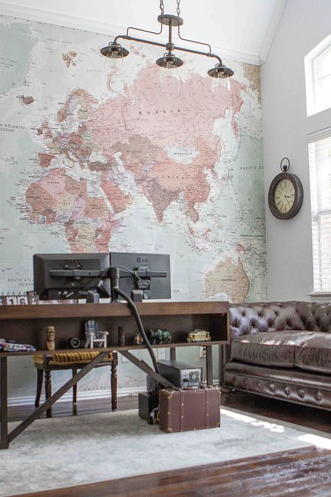 Quality Classic World Map Mural, custom made to suit your wall size, and fully customisable. A classic wallpaper style that will be timeless in your space. World Map Wallpaper, World Map Wall Art, Wall Wallpaper, Wallpaper For Kitchen, World Map Tapestry, Office Wallpaper, World Travel Decor, World Map Decor, Travel Wall Decor