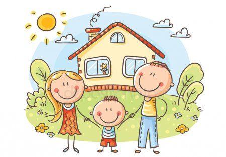 Familia Dibujos Animados Feliz Con Nino Cerca Casa Con Jardin Vector De Stock