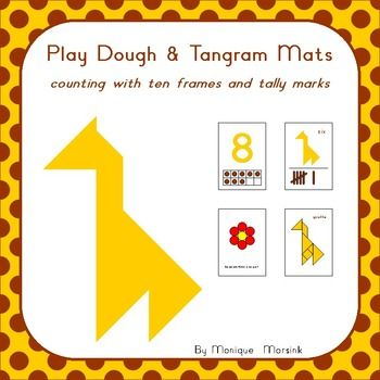 Giraffe - Counting Math Mats (1-10): Can you give the giraffe his spots?  Kids love to play with play dough (play doh) and tangrams puzzles. So why not combine the two and make math mats that can be used for more than just one type of activity.  Also included: Clip Cards (1-20)