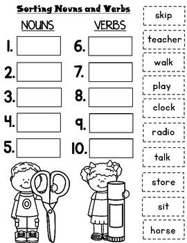 Nouns And Verbs Worksheets With Images Nouns And Verbs