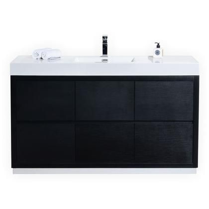 Fmb60s Bk Bliss 60 Single Sink Black Free Standing Modern