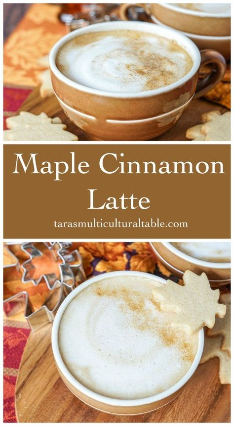 A recipe for a Maple Cinnamon Latte. Hot espresso is combined with maple syrup, and steamed milk. Top the latte with a pinch of cinnamon if desired. Espresso Recipes, Coffee Drink Recipes, Espresso Drinks, Tea Recipes, Fall Recipes, Coffe Drinks, Banana Coffee, Cinnamon Coffee, Coffee Latte