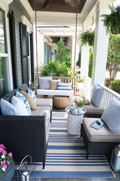 Blue And White A Hot Home Decor Trend This Summer Porch Furniture Porch Swing Patio Decor