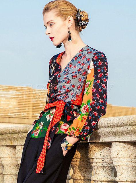 Floral Print Silk V-neck Lantern Sleeve Blouse | Ezpopsy.com