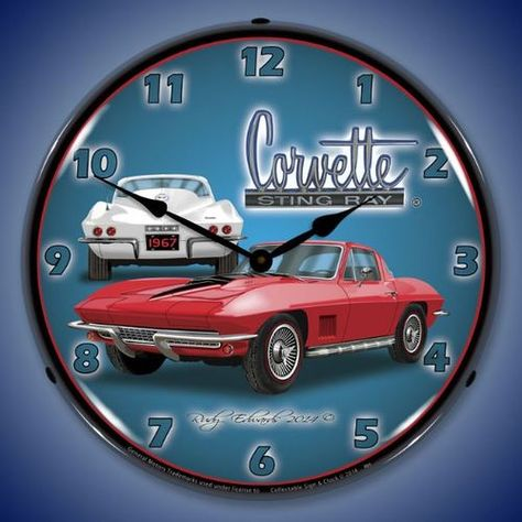 1967 Corvette Stingray Led Lighted Wall Clock 14 X 14 Inches 1967 Corvette Stingray Wall Clock Light Corvette