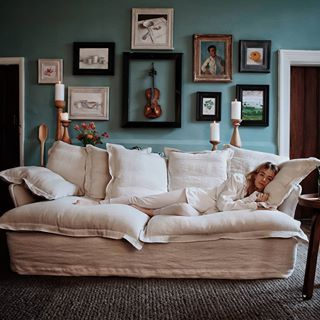 Marnie Snuggling Into Our Linen Cotton Coconut Song Standard Sofa In 2020 Comfortable Living Room Furniture Luxury Furniture Living Room Most Comfortable Couch