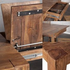 Esstisch | Holz massiv | mit Klappeinlage | Bank | ausziehbar - bei ...