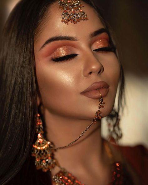 Pakistani Makeup Looks, Indian Makeup Looks, Prom Makeup Looks, Bridal Makeup Looks, Indian Bridal Makeup, Bridal Hair And Makeup, Makeup Trends, Makeup Inspo, Makeup Inspiration