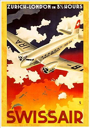 Vintage Swissair Flights to Argentina Airline Poster A3 Print