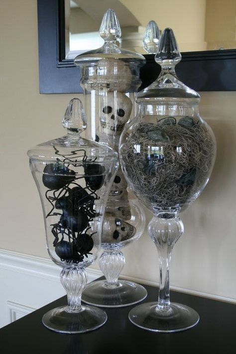 Scary apothecary jars decor for Halloween.