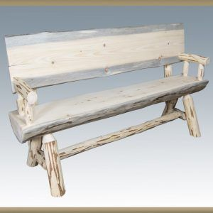 Rustic Pine Half Log Benches W Backs Log Bench Wood Bench Outdoor Bench