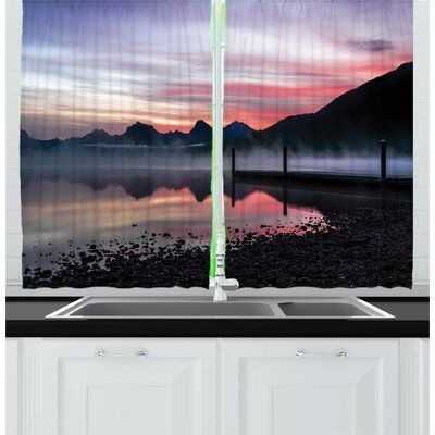 East Urban Home 2 Piece Glacier National Park Late Evening Time Shot Of Lake Mcdonald Trees Kitchen Curtain In 2020 Kitchen Curtain Sets Kitchen Curtains Curtain Decor