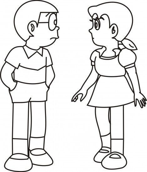 Shizuka And Nobita Free Colouring Picture To Print Nobita And