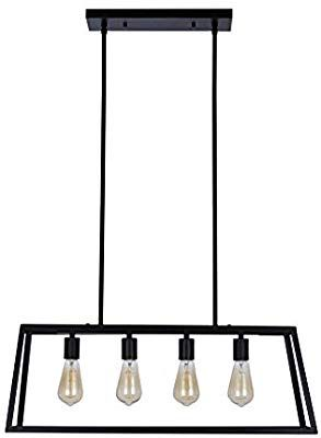 Stone & Beam Industrial Open Rectangle Frame Ceiling Chandelier Pendant with 4 LED Light Bulbs