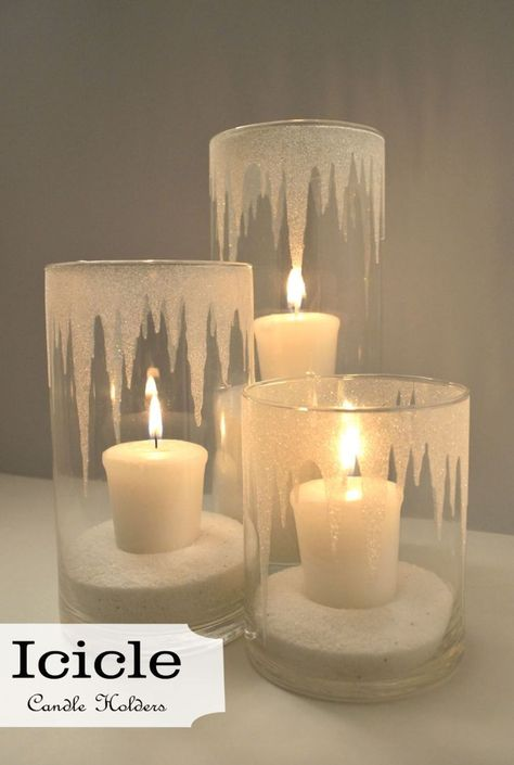 DIY Your Wedding - Candles - Ideas of Candles - Beautiful DIY icicle candle holders. Make with battery operated candles? Glitter Candle Holders, Glitter Candles, Diy Candles, Diy Candle Holders Wedding, Decorating Candles, Battery Candles, Candle Holder Decor, Glass Candle Holders, Decorating Ideas