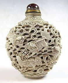 Antique style Chinese Unique style Bovine bone Carved dragon Snuff Bottles