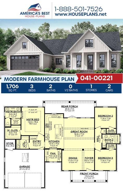 House Plan 041 00221 Modern Farmhouse Plan 1 706 Square Feet 3 Bedrooms 2 Bathrooms Modern Farmhouse Plans House Plans Farmhouse Craftsman House Plans