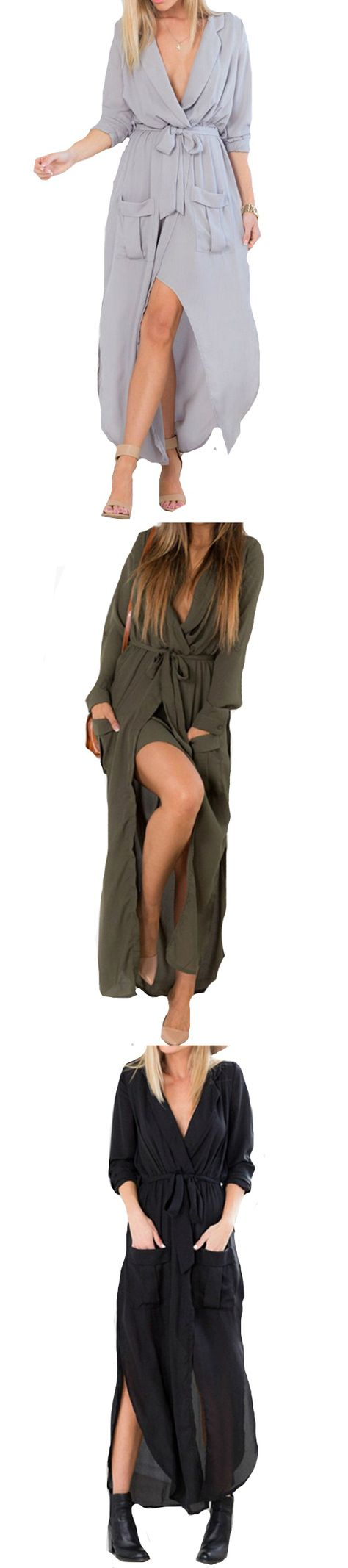 Love to wear long? Try this sexy slit maxi dress and infuse hotness in your style!Get more from Minchic.com