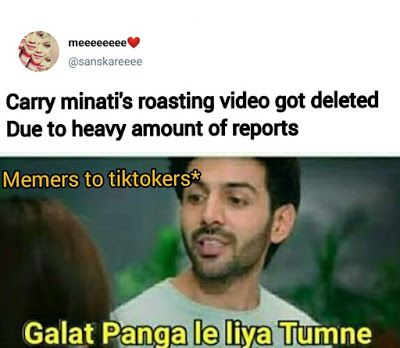 Youtube Vs Tiktok Funny Memes In Hindi For Facebook And Whatsapp Statuspictures Com In 2020 Memes Funny Memes Funny