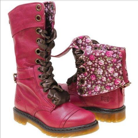 Dr. Martens Shoes   Dr. Martens Triumph 1914 Boots Leather Floral 5   Color: Pink/Red   Size: 5