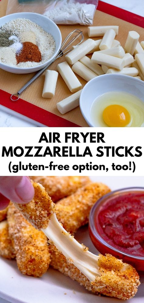 Air Fryer Mozzarella Sticks (oven-baked and gluten-free options, too!) These air fryer mozzarella sticks make a delicious, healthier game day snack. All the gooey cheese Air Fryer Oven Recipes, Air Frier Recipes, Air Fryer Dinner Recipes, Appetizer Recipes, Air Fryer Recipes Mozzarella Sticks, Healthy Mozzarella Sticks, Air Fryer Recipes Gluten Free, Appetizers, Think Food