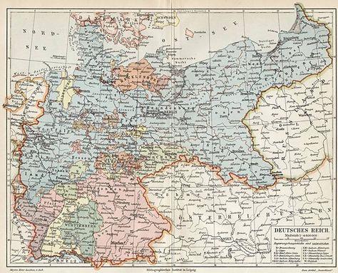 Karte Vom Deutschen Reich Landkarte Alte Karten