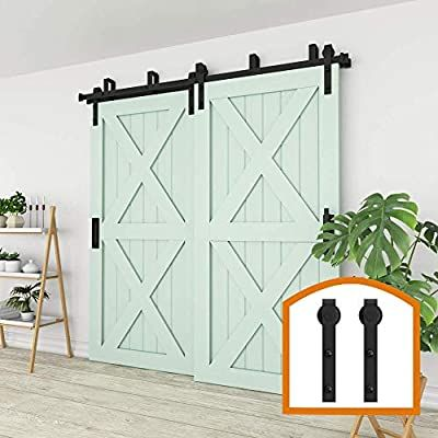 Amazon Com Zekoo New Style 10 Ft Sale Bypass Sliding Barn Door Hardware Steel Track For Double Wooden D In 2020 Making Barn Doors Barn Door Sliding Barn Door Hardware