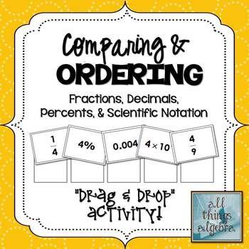 Fraction, Decimal, Percent, Scientific Notation Activity - scientific notation worksheet