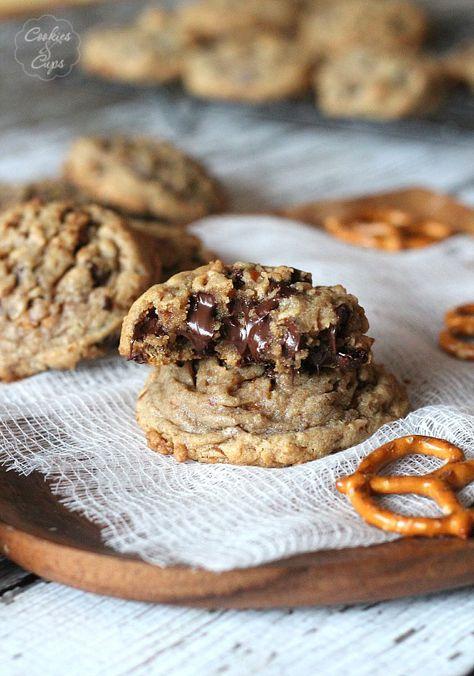 Salty Pretzel Chocolate Chip Cookies   www.cookiesandcups.com