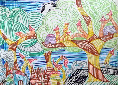 Dibujo Educativo La Linea Como Elemento Expresivo Y Compositivo Ce 14 15 Rotuladores De Colores Produccion Artistica Lecciones De Arte