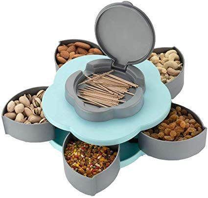 Masala Spice Nut Tray 6 SECTION SNACK TRAY SPICE TRAY MASALA DABBA WITH LID