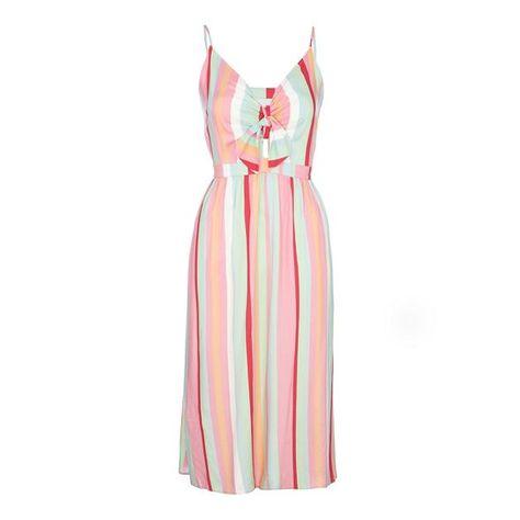 Red Herring Multi-coloured striped V-neck knee length dress ... 421745d4b