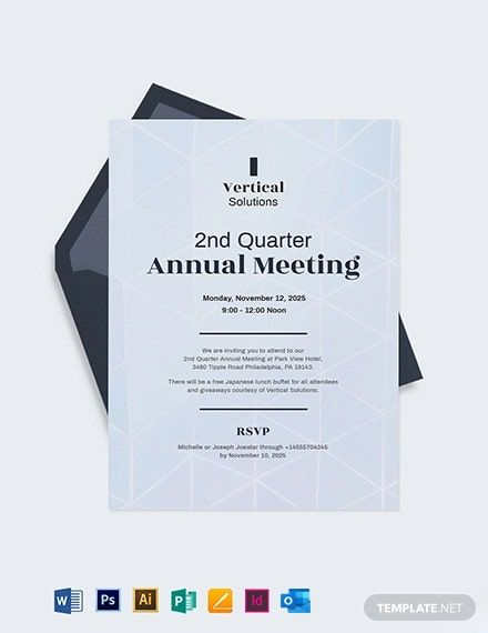 Annual Meeting Invitation Card Template Free Pdf Word Doc Psd Indesign Apple Mac Pages Google Docs Illustrator Publisher Outlook Invitation Cards Card Template Invitations