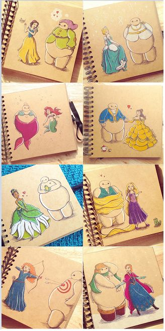Big hero 6 baymax as with disney princesses.I love meria's nut looks like baymax is going to need more tape when she's done. Disney E Dreamworks, Disney Pixar, Disney Characters, Disney Cartoons, Cute Disney Drawings, Cute Drawings, Drawing Disney, Disney Princess Drawings, Disney Princess Art