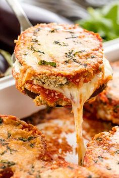 delicious baked eggplant parmesan with crispy coated eggplant slices smothe