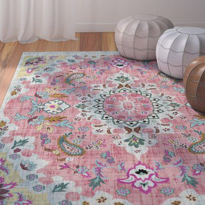 Dante Pink Blue Yellow Area Rug Pink Area Rug Yellow Area Rugs