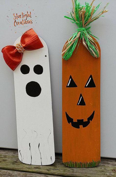 Halloween Home Decor, Repurposed Home Decor, Repurposed Crafts, Hand Painted Halloween Decorations, Fun Halloween Decor, Unique Home Decor, Ghost and Pumpkin Decorations