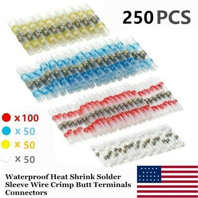 Details About 250x Waterproof Solder Sleeve Heat Shrink Tube Wire 4 Size Terminal Connectors In 2020 Heat Shrink Wire Connectors Connectors