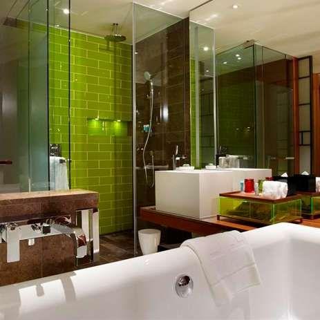 Badezimmer Badezimmer Fliesen Braun Grun