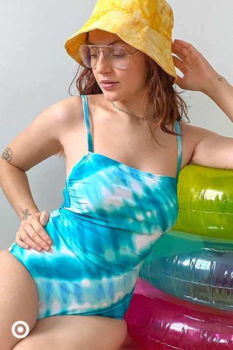 Catch rays in this tie-dye one-piece suit.